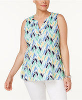 Charter Club Plus Size Ikat-Print Henley Tank, Only at Macy's