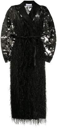 Ganni oversized feather embellished coat