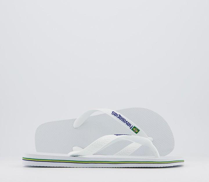 Havaianas Brasil Logo Flip Flops White