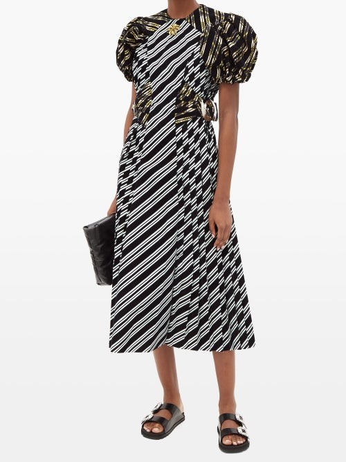 Thumbnail for your product : Chopova Lowena Storm Puffed-sleeve Flocked-stripe Taffeta Dress - Black Multi