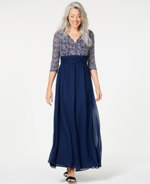 Jessica Howard Petite Ruched Glitter Lace Gown