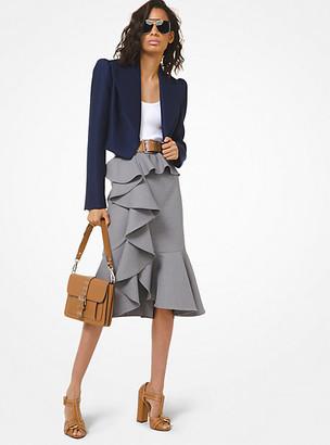 Michael Kors Stretch Wool Duvetyne Cascade Ruffle Skirt