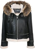 Barbara Bui fur trim leather jacket