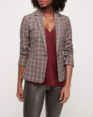 Express Windowpane Plaid Notch Collar One Button Blazer