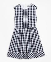 Brooks Brothers Girls Cotton Cap-Sleeve Gingham Dress