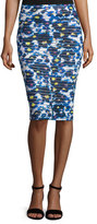 Fuzzi Floral-Print Midi Pencil Skirt