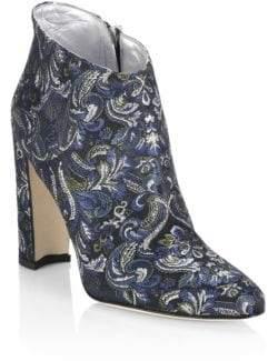 Manolo Blahnik Brusta 105 Embroidered Block Heel Booties