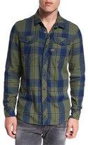 G Star G-Star Tacoma Check Flannel Shirt, Indigo/Dark Bronze Green