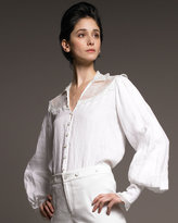 Ralph Lauren Collection Lace-Yoke Linen Blouse