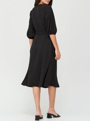 Very Three Quarter Sleeve Wrap Dress - Black