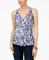 INC International Concepts Petite Printed Surplice Top, Only at Macy's