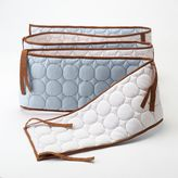Bacati Quilted Blue & Chocolate Circles Crib Bumper