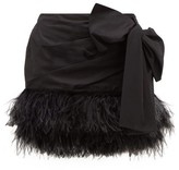 No.21 No. 21 - Side-bow Feather-trimmed Cotton Mini Skirt - Womens - Black