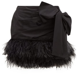 No.21 No. 21 - Side-bow Feather-trimmed Cotton Mini Skirt - Black
