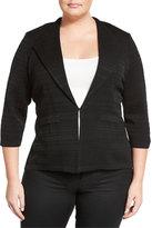 Ming Wang Textured Knit Jacket, Black, Plus Size