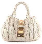 Miu Miu Beige Gaufre Ruched Leather Gold Tone Satchel Handbag BP4251 MHL
