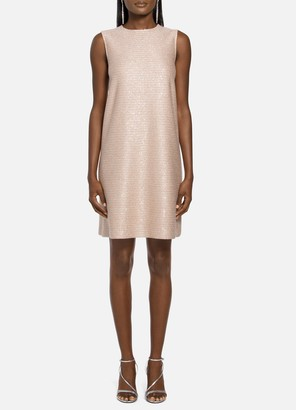 St. John Glimmering Sequined Knit Trapeze Dress