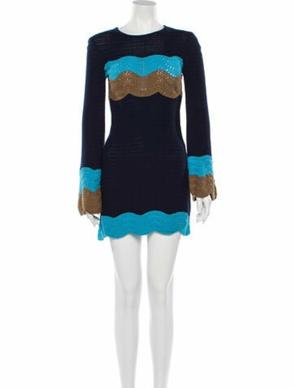 STAUD Colorblock Pattern Mini Dress w/ Tags Blue