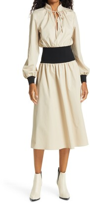 Tory Burch Rib Waist Long Sleeve Dress