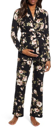 Angel Maternity Floral Maternity/Nursing Pajamas