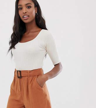 Asos Tall DESIGN Tall scoop neck short sleeve sweater in fine knit rib-Cream