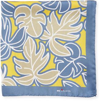 Kiton Men's Tropical Leaves Silk Pocket Square