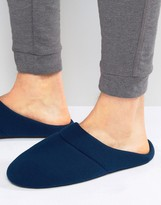 Asos Slip On Slippers In Navy