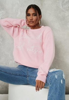Missguided Pink Baby Graphic Christmas Sweater
