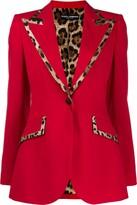 Dolce & Gabbana leopard print trim blazer jacket