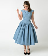 Vintage 1950s Slate Blue Taffeta Cap Sleeve Swing Dress