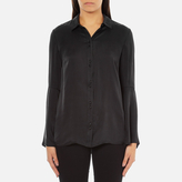 Gestuz Women's Maiden Silk Blouse With Bell Sleeves and Silk Buttons Black