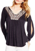 Jessica Simpson Frida Slit Sleeve Embroidered Top