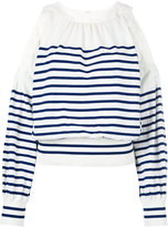Sacai striped cold shoulder jumper