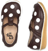 Chocolate & White Dot Leather T-Strap Flat