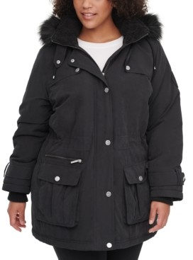 DKNY Plus Size Faux-Fur-Trim Hooded Anorak