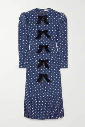 Alessandra Rich Bow-embellished Polka-dot Silk Crepe De Chine Midi Dress - Blue