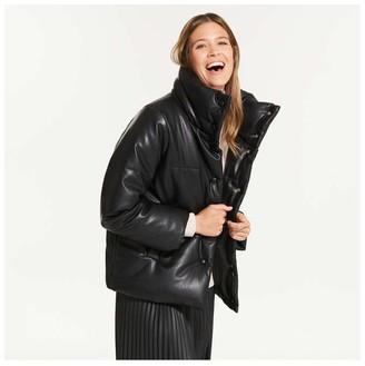 Joe Fresh Women's Faux Leather Puffer, JF Black (Size XL)