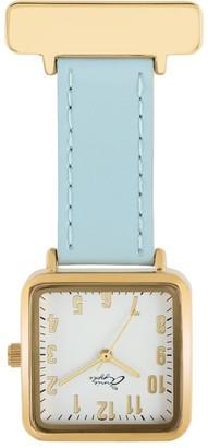 Bermuda Watch Company Annie Apple Square Gold White Blue Leather Nurse Fob Watch
