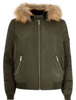 River Island Womens Khaki faux fur hooded bomber jacket