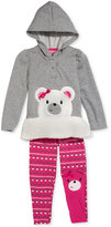 Nannette Little Girls' 2-Piece Bear Hoodie with Faux Fur & Leggings Set