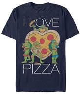 Fifth Sun I Love Heart Shaped Pizza Mens Crew Neck Short Sleeve Teenage Mutant Ninja Turtles Graphic T-Shirt, Small , Blue