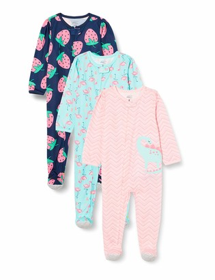 Simple Joys by Carter's Baby Girls' 3-Pack Loose Fit Flame Resistant Polyester Jersey Footed Pajamas