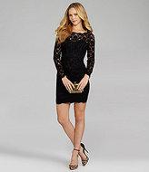 BCBGMAXAZRIA Sheer-Sleeve Lace-Detail Dress