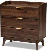 Baxton Studio Kayley Mid-Century Modern Walnut Brown 3-Drawer Wood Chest