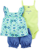 Carter's 3-Pc. Printed Top, Adorable Girl Bodysuit and Bubble Shorts Set, Baby Girls (0-24 Months)