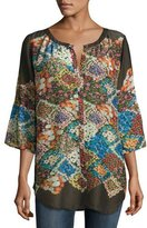 Johnny Was Tempo Button-Front Floral-Print Georgette Top