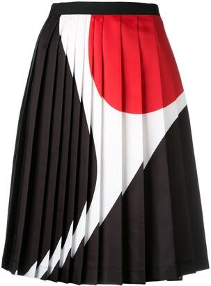 Neil Barrett Geometric Print Pleated Skirt