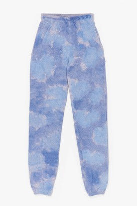 Nasty Gal Womens Head in the Clouds High-Waisted Tie Dye Joggers - Blue - S, Blue