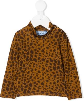 Mi Mi Sol Mock Neck Leopard Print Sweatshirt
