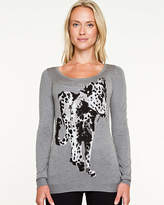 Le Château Cheetah Print Crew Neck Sweater